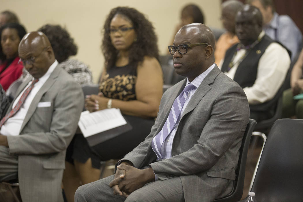 Chad Williams at the Southern Nevada Regional Housing Authority board meeting at the commission chambers in Las Vegas, Thursday, May 17, 2018. Chad Williams was approved as the new executive direc ...