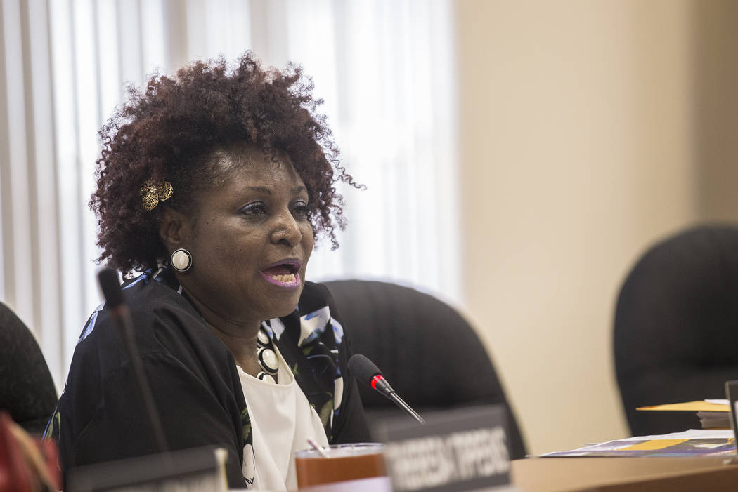 Chairperson Dora LaGrande speaks of her approval of the new Executive Director Chad Williams at the Southern Nevada Regional Housing Authority board meeting at the commission chambers in Las Vegas ...