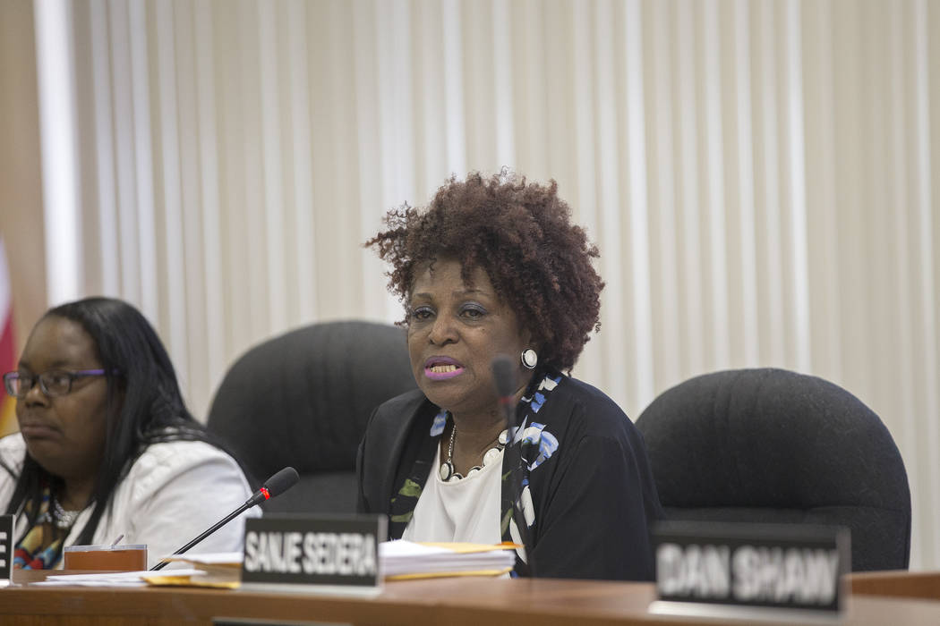 Chairperson Dora LaGrande speaks at the Southern Nevada Regional Housing Authority board meeting at the commission chambers in Las Vegas, Thursday, May 17, 2018. Chad Williams was approved as the ...