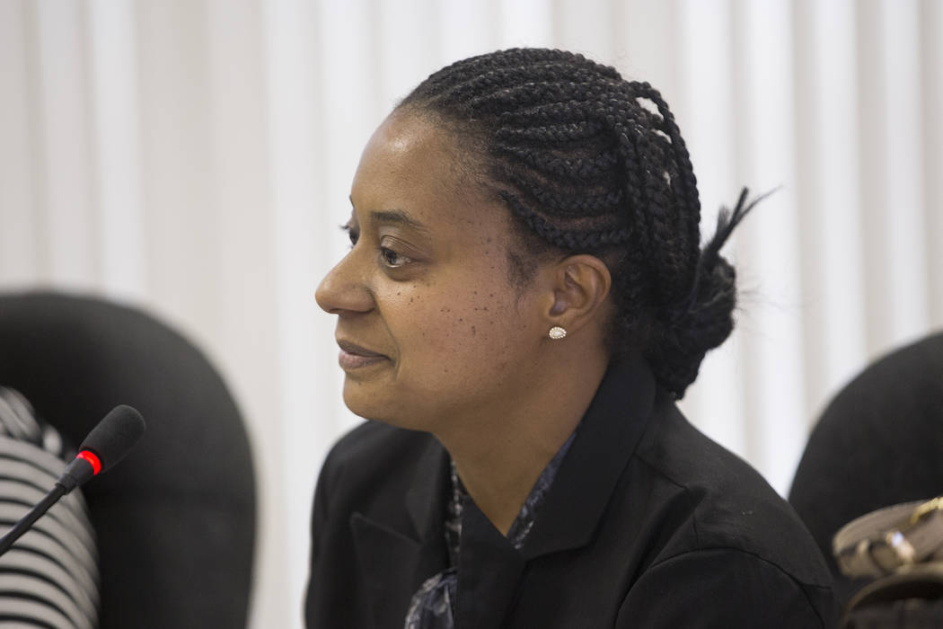 Commissioner Misha Hooks speaks at the Southern Nevada Regional Housing Authority board meeting at the commission chambers in Las Vegas, Thursday, May 17, 2018. Chad Williams was approved as the n ...