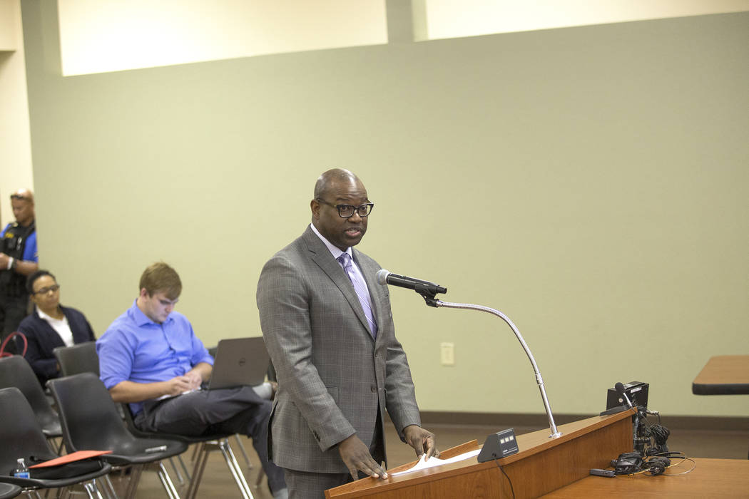 Chad Williams addresses the board of commissioners at the Southern Nevada Regional Housing Authority board meeting at the commission chambers in Las Vegas, Thursday, May 17, 2018. Chad Williams wa ...