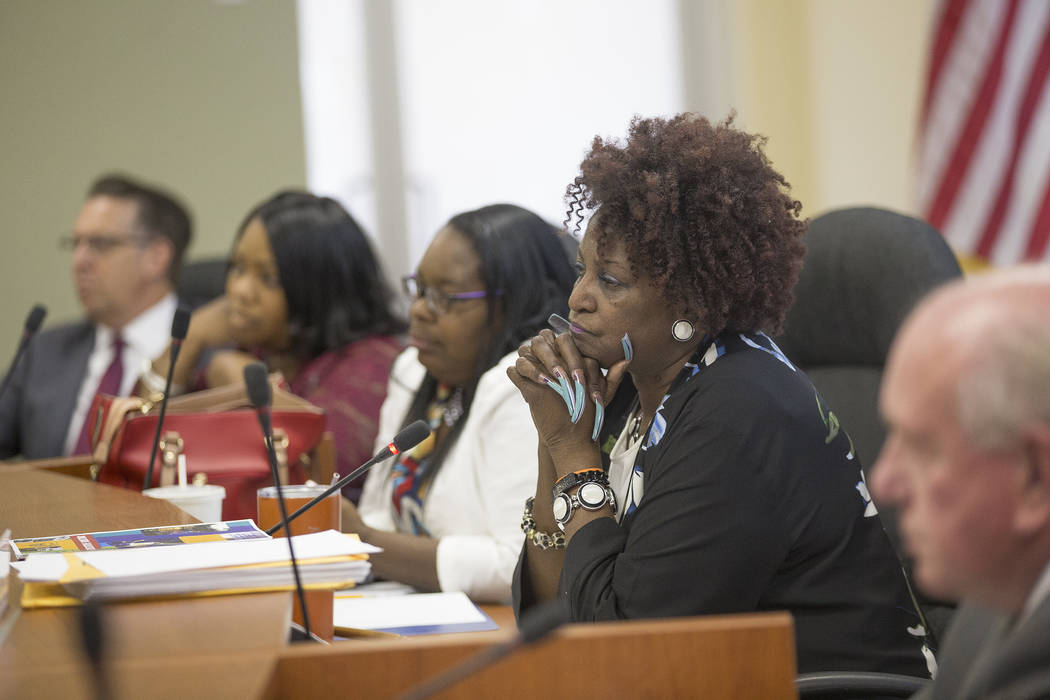 Chairperson Dora LaGrande listens at the Southern Nevada Regional Housing Authority board meeting at the commission chambers in Las Vegas, Thursday, May 17, 2018. Chad Williams was approved as the ...