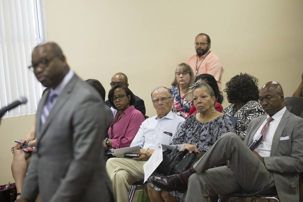 Attendees listens to Chad Williams address the commissioners at the Southern Nevada Regional Housing Authority board meeting at the commission chambers in Las Vegas, Thursday, May 17, 2018. Chad W ...