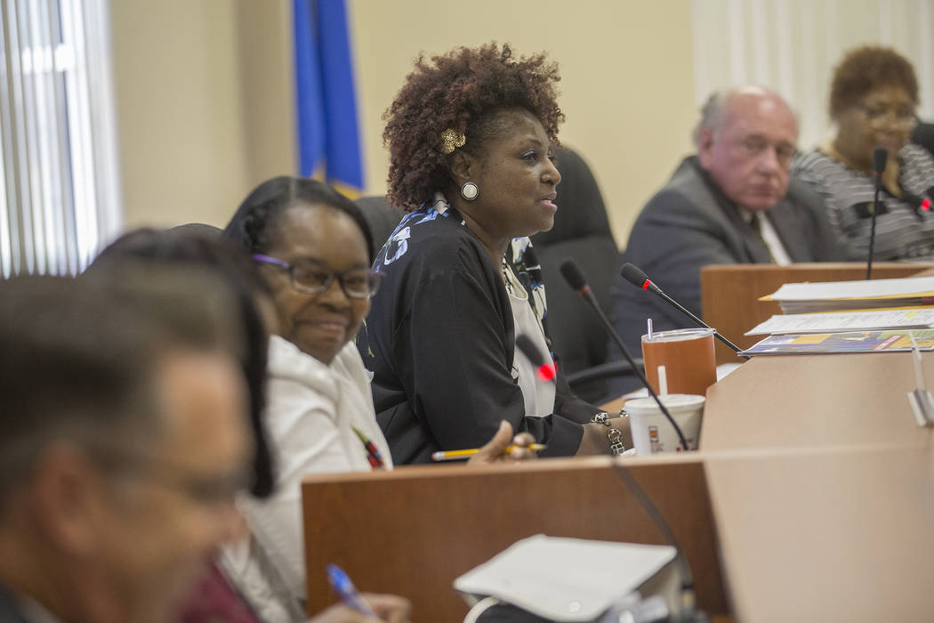 Chairperson Dora LaGrande speaks at the Southern Nevada Regional Housing Authority board meeting at the commission chambers in Las Vegas, Thursday, May 17, 2018. Chad Williams was selected as new ...