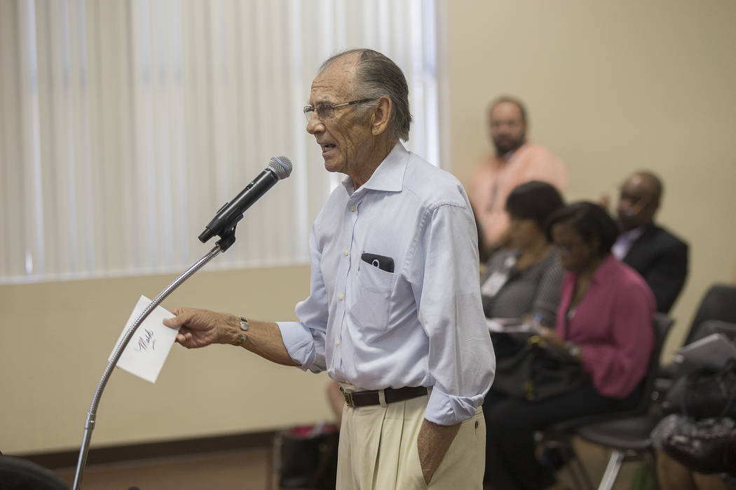 Mark Matuois addresses the board of commissioners at the Southern Nevada Regional Housing Authority board meeting at the commission chambers in Las Vegas, Thursday, May 17, 2018. Rachel Aston Las ...