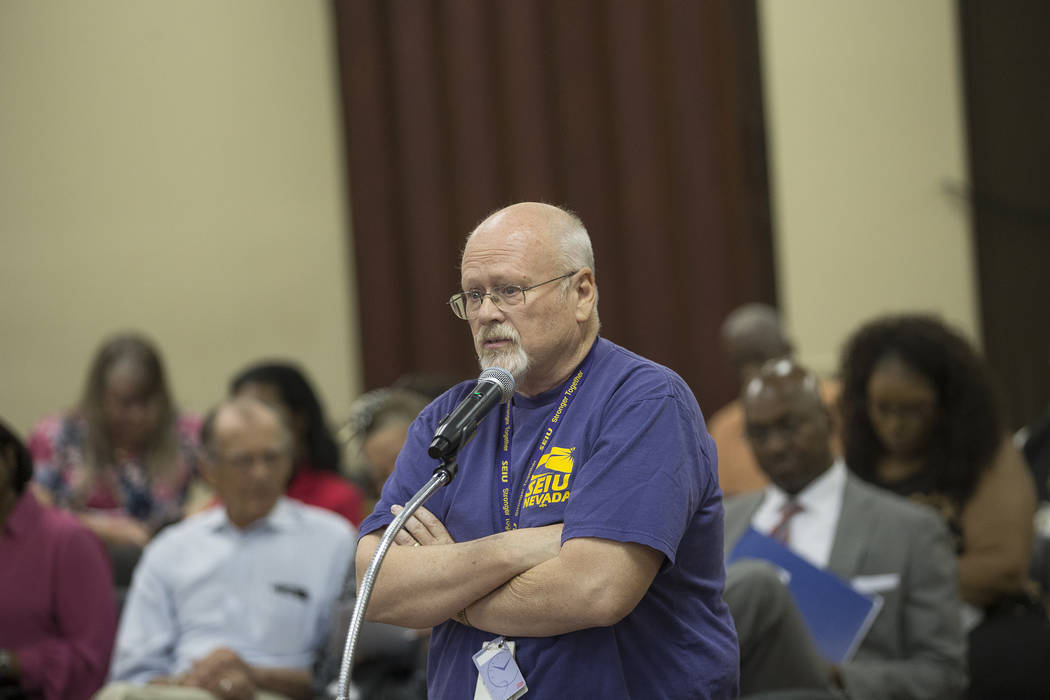 Byron Peterson, with the Service Employees International Union, addresses the board of commissioners at the Southern Nevada Regional Housing Authority board meeting at the commission chambers in L ...