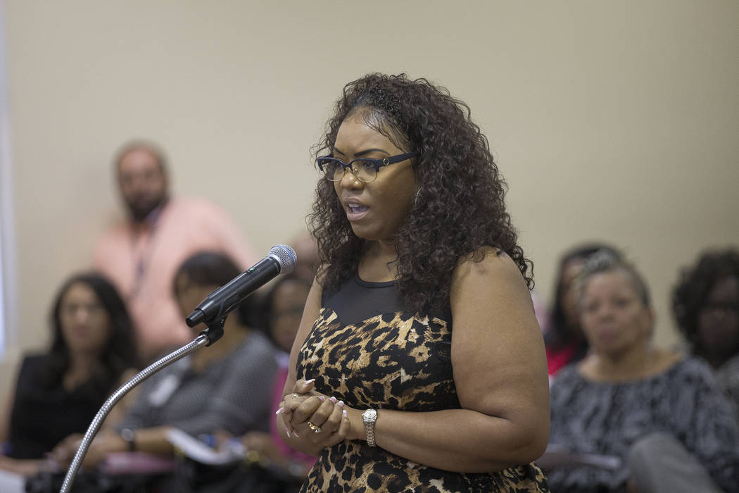 Lynette Patterson, the human resources manager for the SNRHA, addresses the board of commissioners at the Southern Nevada Regional Housing Authority board meeting at the commission chambers in Las ...