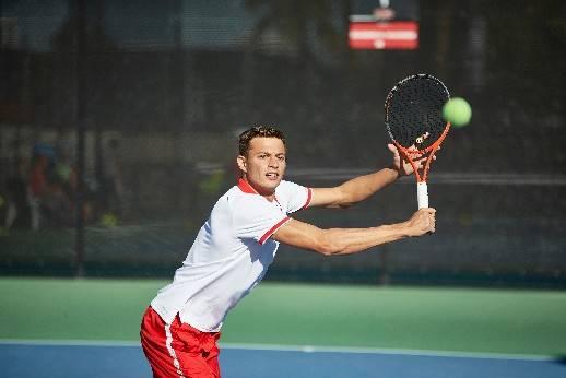 UNLV tennis player Alexandr Cozbinov in action in this undated photo. Photo courtesy of UNLV Athletics.