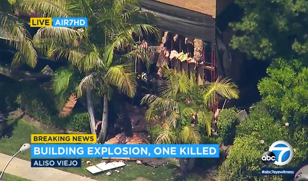 This photo taken from video provided by KABC-TV shows a building after an explosion rocked it in Aliso Viejo, Calif., Tuesday afternoon, May 15, 2018. Authorities say one person is dead and severa ...