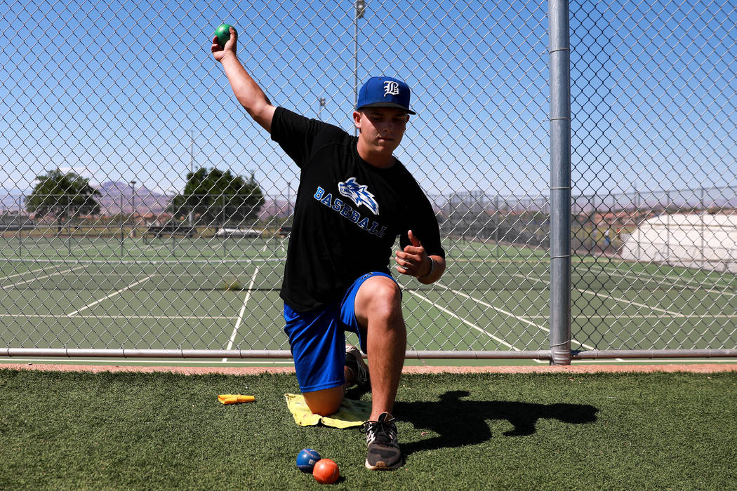 Basic's C.J. Dornak warms up during baseball practice at Basic High School in Henderson, Nevada on Tuesday, May 15, 2018. Andrea Cornejo Las Vegas Review-Journal @dreacornejo
