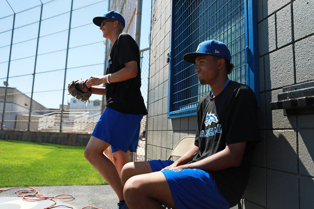 Basic's Garrett Giles, right, watches his teammates during baseball practice at Basic High School in Henderson, Nevada on Tuesday, May 15, 2018. Andrea Cornejo Las Vegas Review-Journal @dreacornejo