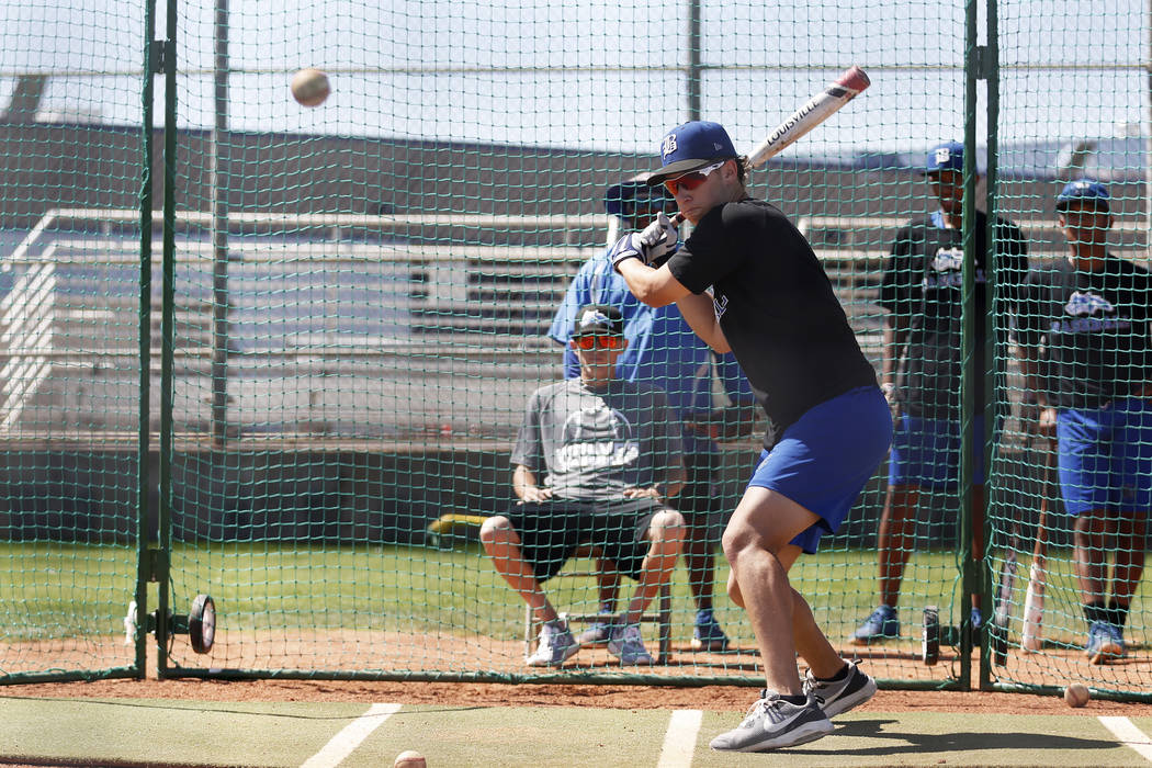 Basic's Jesse Fonteboa practices his swings during baseball practice at Basic High School in Henderson, Nevada on Tuesday, May 15, 2018. Andrea Cornejo Las Vegas Review-Journal @dreacornejo