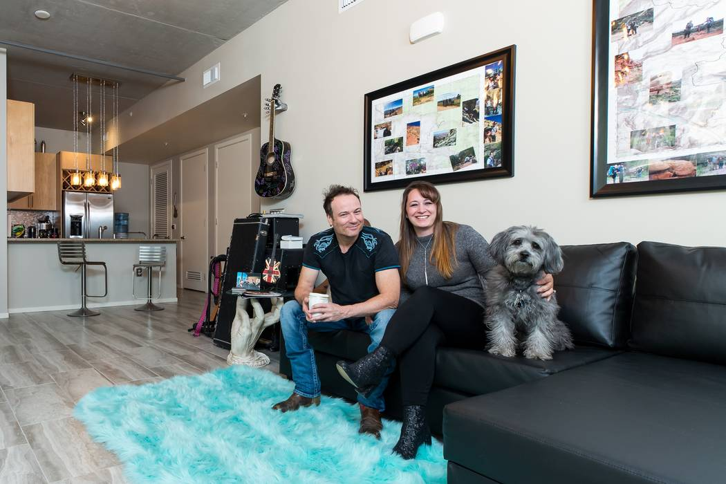 Bryan Duffy, Jackie Fisher and their four-legged fur friend enjoy their new lifestyle and home at Juhl. (Mona Shield Payne Juhl)
