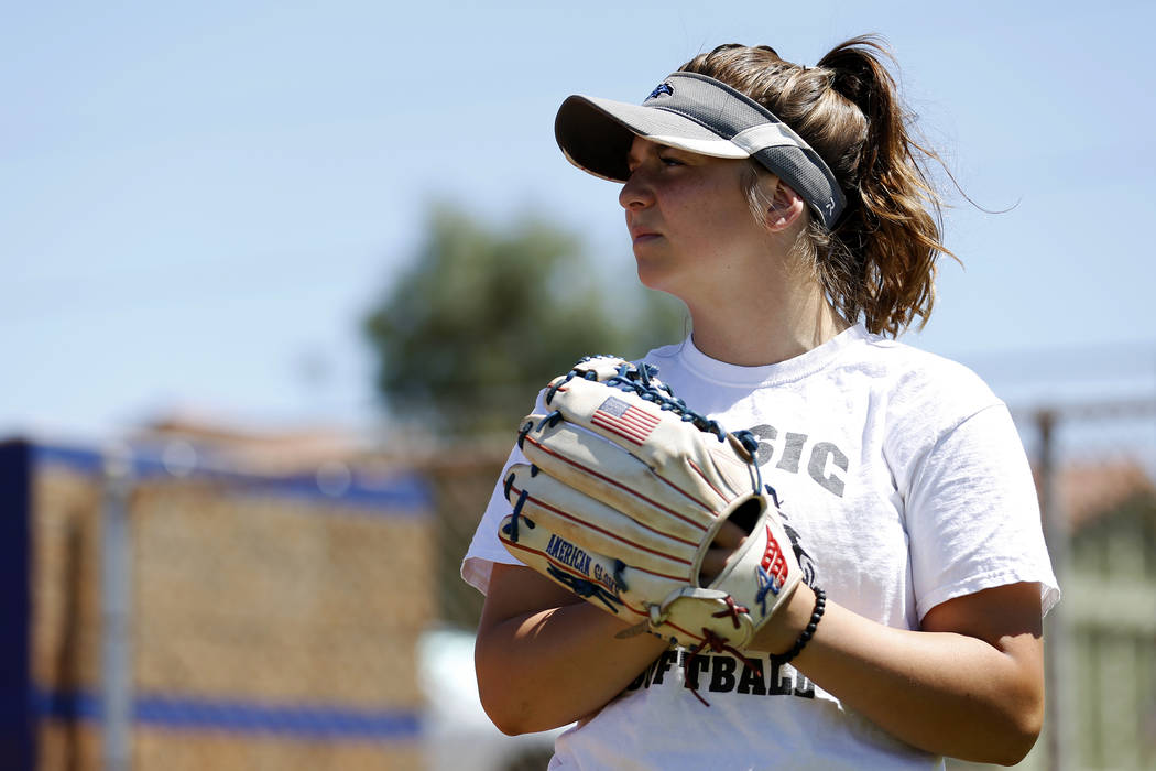 Basic's Angela Santillanes attends softball practice at Basic High School in Henderson, Nevada on Tuesday, May 15, 2018. Andrea Cornejo Las Vegas Review-Journal @dreacornejo