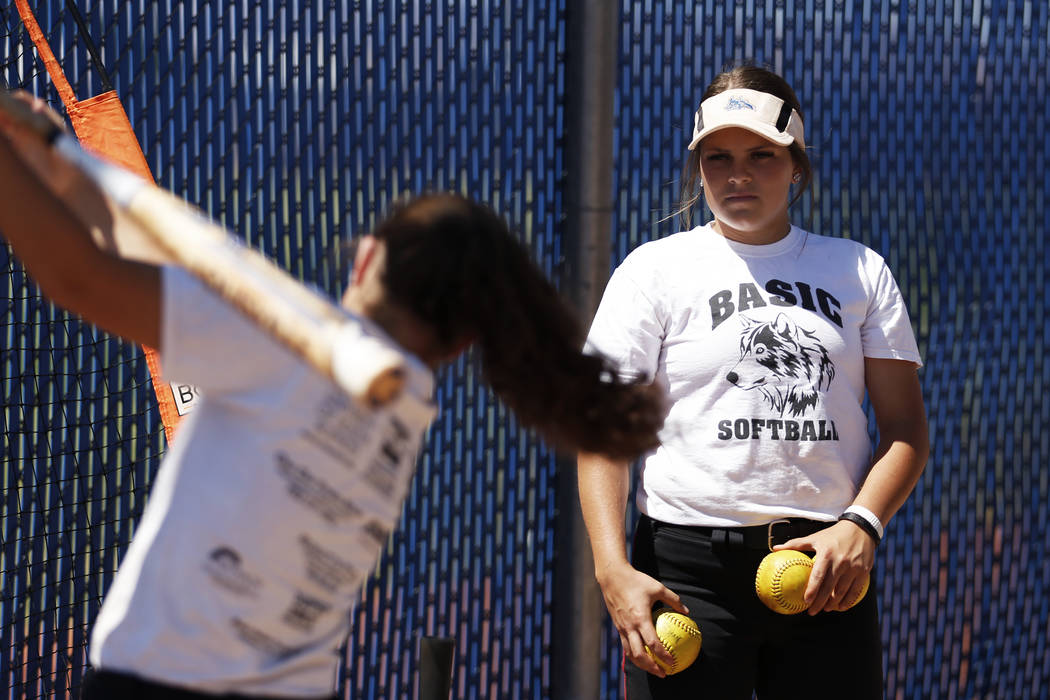 Basic's Mikayla Berg warms up during softball practice at Basic High School in Henderson, Nevada on Tuesday, May 15, 2018. Andrea Cornejo Las Vegas Review-Journal @dreacornejo