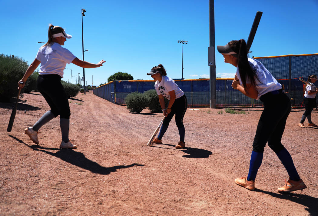 Basic's Angela Santillanes, center, warms up during softball practice at Basic High School in Henderson, Nevada on Tuesday, May 15, 2018. Andrea Cornejo Las Vegas Review-Journal @dreacornejo