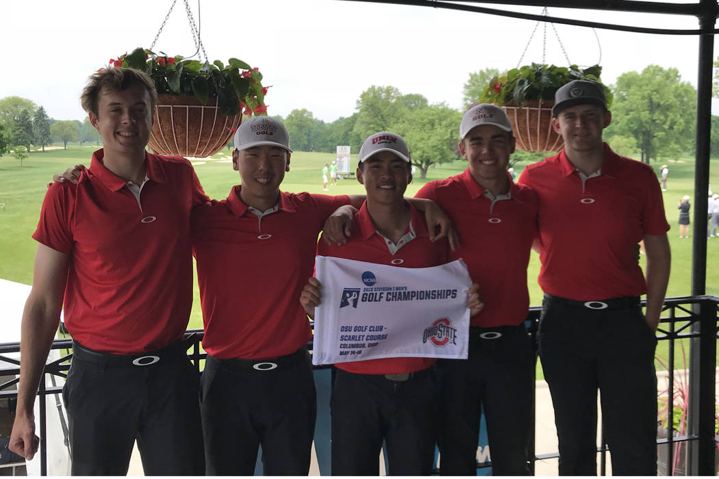 The UNLV men's golf team advanced to the NCAA Golf Championships for the 21st time in 30 years after finished third at the NCAA Columbus regional at Ohio State's Scarlet Course. Pictured left to r ...