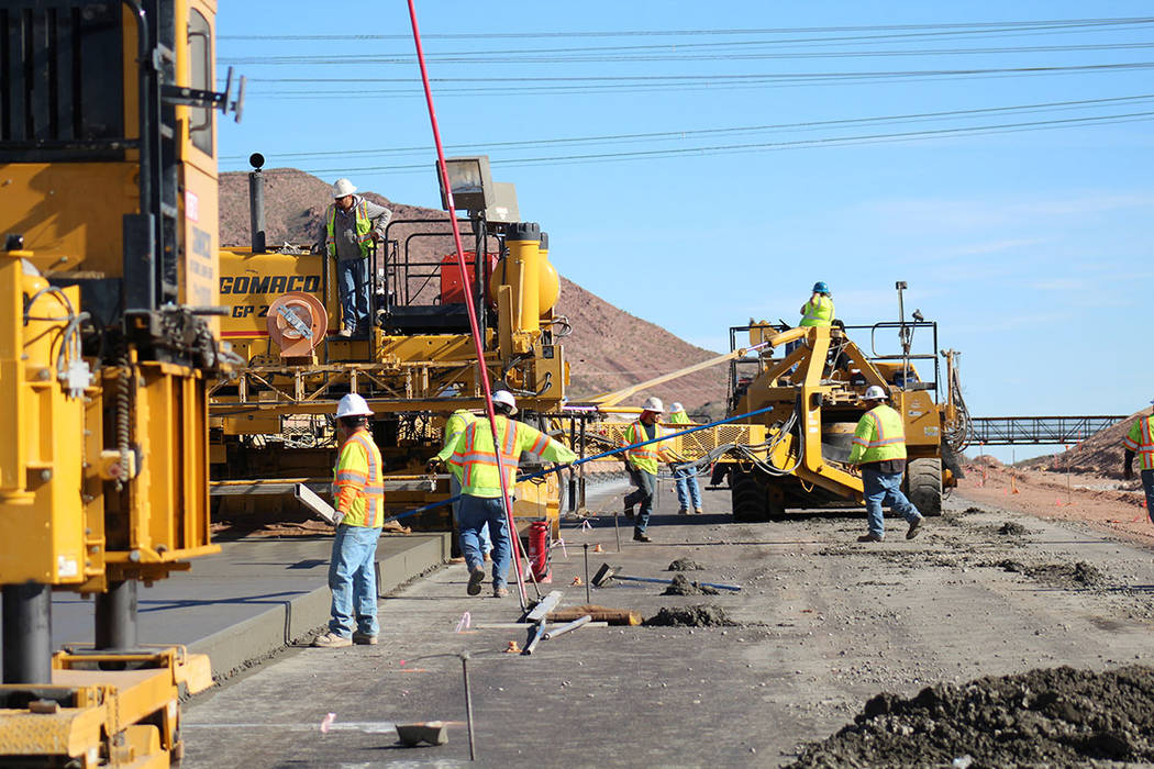 Construction crews work on a 2½-mile segment of Interstate 11, overseen by the Nevada Department of Transportation. (NDOT)
