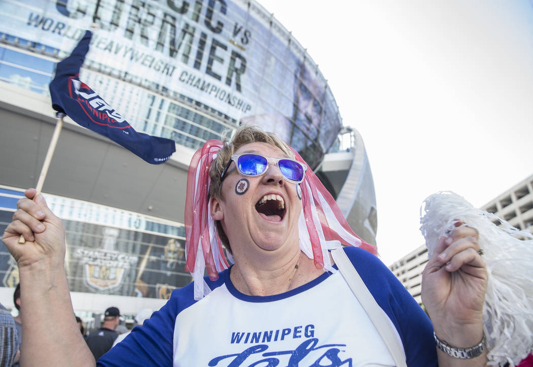 Winnipeg Jets fan Janet Sabourin Gatin outside T Mobile Arena before the start of game three of their NHL Western Conference Finals matchup with the Golden Knights on Wednesday
