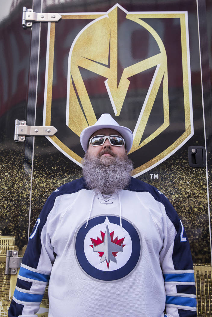 Winnipeg Jets fan Marc Connelly outside T-Mobile Arena before the start of game three of their NHL Western Conference Finals matchup with the Golden Knights on Wednesday, May 16, 2018, at T-Mobile ...
