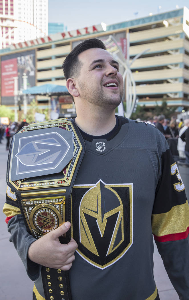 Golden Knights fan John Odell outside T-Mobile Arena before the start of game three of Las Vegas' NHL Western Conference Finals matchup with the Winnipeg Jets on Wednesday, May 16, 2018, at T-Mobi ...