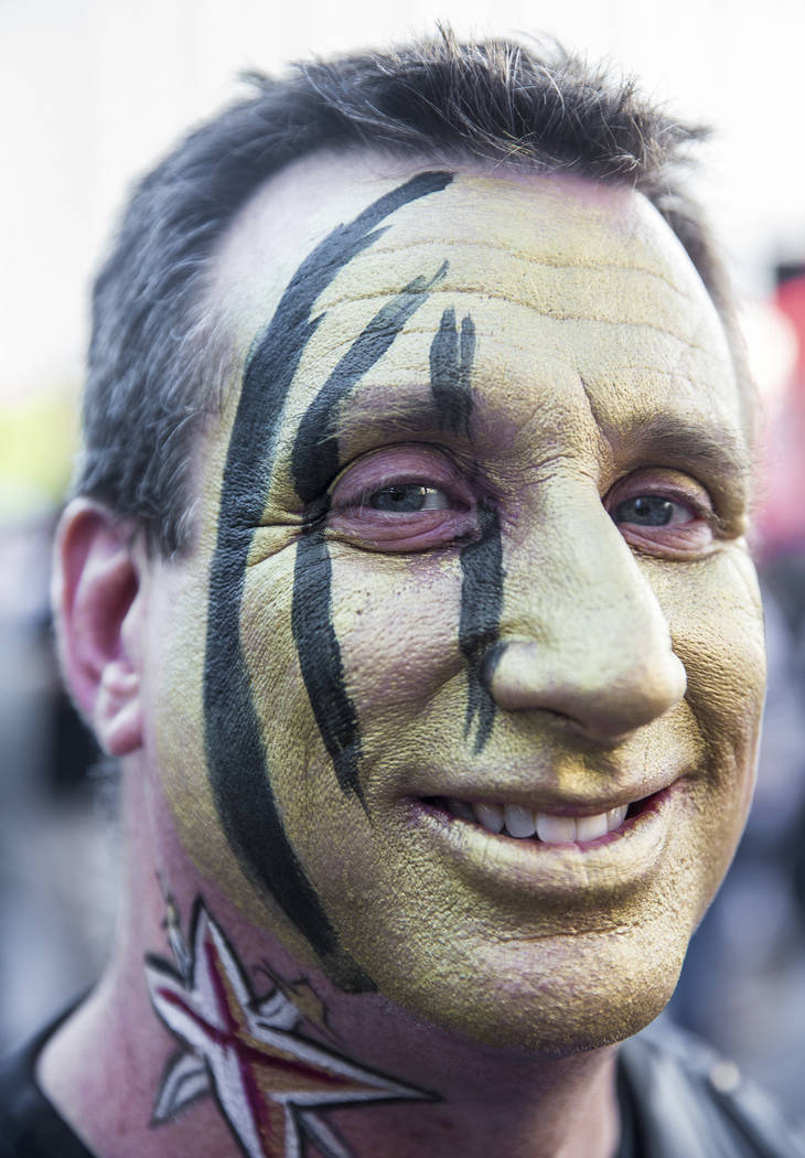 Golden Knights fan Rocky Heidt outside T-Mobile Arena before the start of game three of Las Vegas' NHL Western Conference Finals matchup with the Winnipeg Jets on Wednesday, May 16, 2018, at T-Mob ...