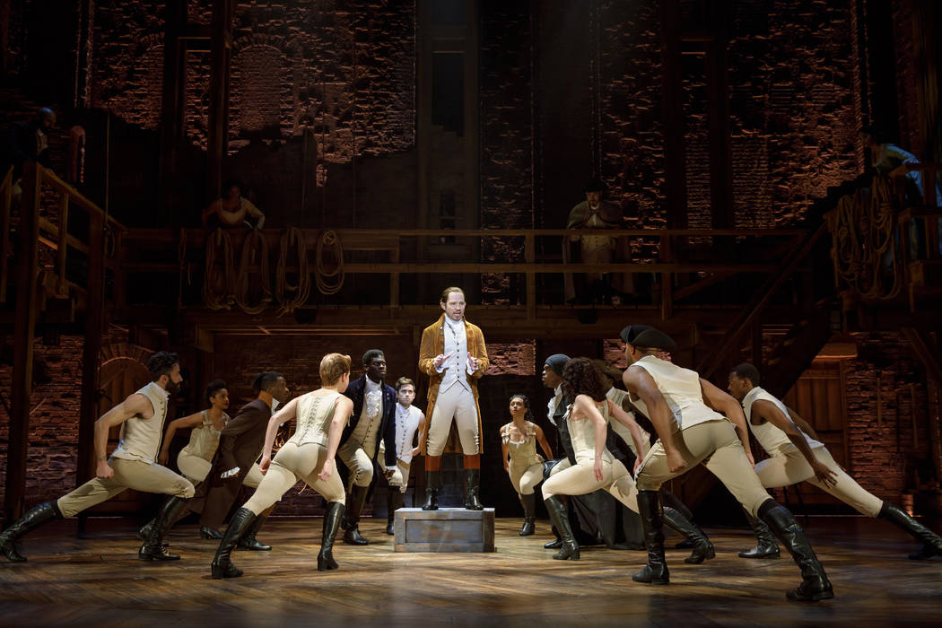 "Joseph Morales, as Alexander Hamilton, and the national tour company of ""Hamilton,"" which begins a month-long run at The Smith Center May 29."