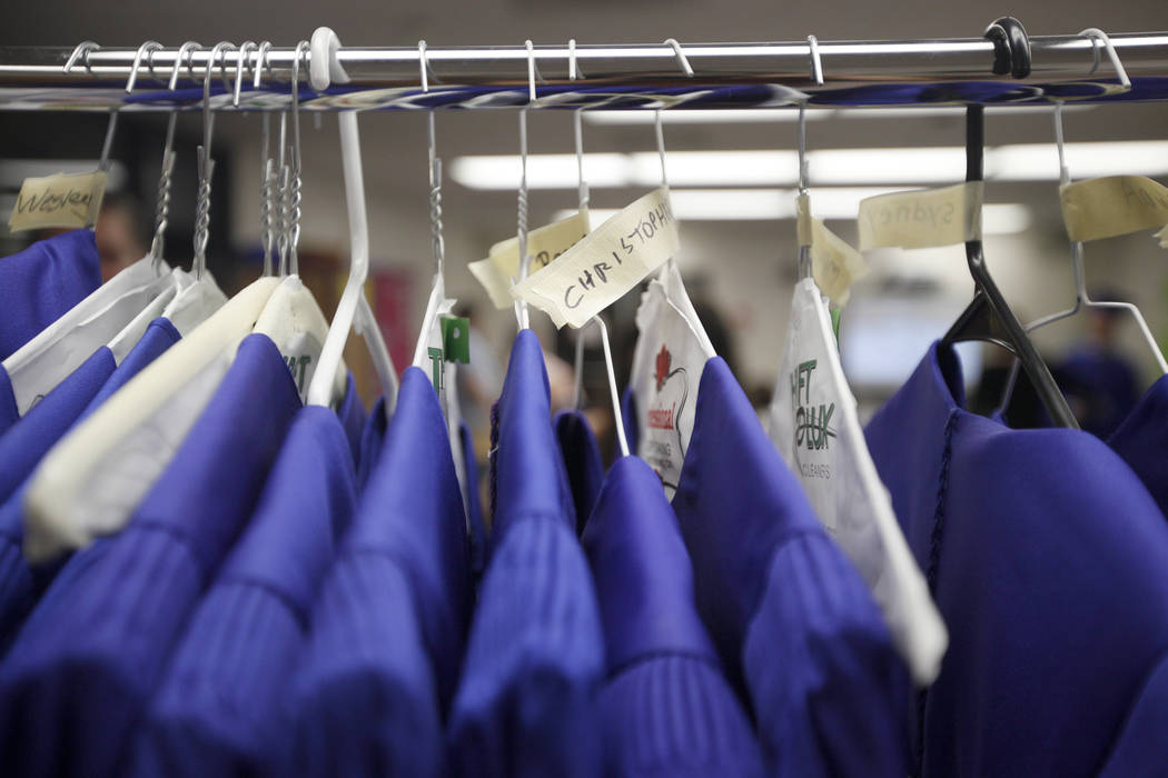 Graduation gowns hang at Helen J. Stewart School in Las Vegas, Wednesday, May 16, 2018. Rachel Aston Las Vegas Review-Journal @rookie__rae