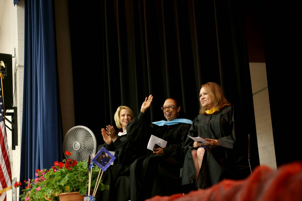 Dr. Deanna Jaskolski, from left, school board trustee Dr. Linda Young, and school board trustee Linda Cavazos greet the crowd during a graduation ceremony at Helen J. Stewart School, a special nee ...