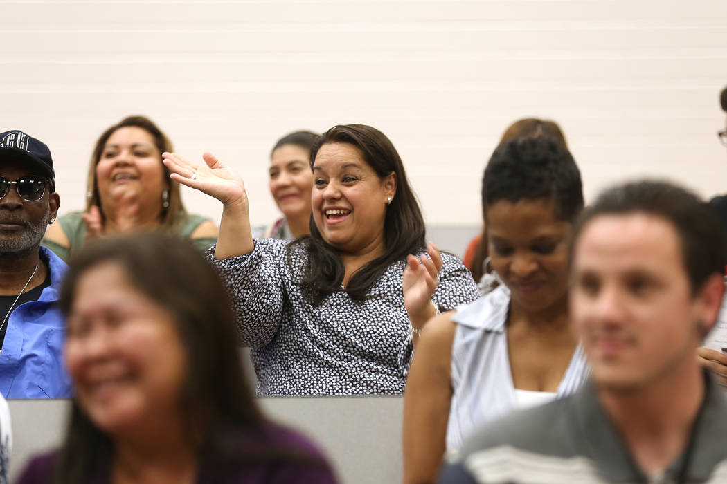 Maria Navarrete waves at her daughter during a graduation ceremony at Helen J. Stewart School, a special needs school, in Las Vegas, Wednesday, May 16, 2018. Rachel Aston Las Vegas Review-Journal ...