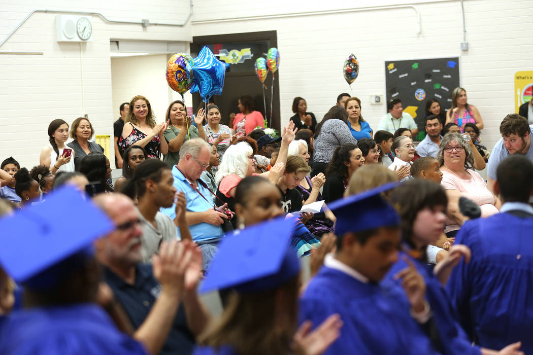 A graduation ceremony at Helen J. Stewart School, a special needs school, in Las Vegas, Wednesday, May 16, 2018. Rachel Aston Las Vegas Review-Journal @rookie__rae