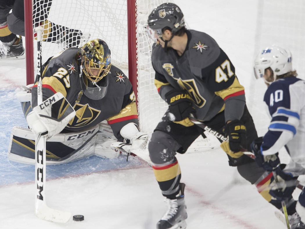 Golden Knights goaltender Marc-Andre Fleury (29) makes a save in the first period during game three of Las Vegas' NHL Western Conference Finals matchup with Winnipeg on Wednesday, May 16, 2018, at ...