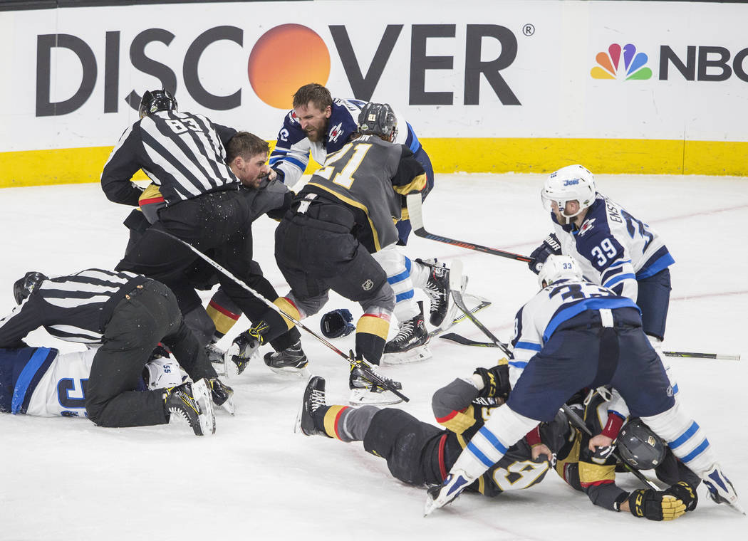 Golden Knights and Winnipeg Jets scuffle during game three of the NHL Western Conference Finals on Wednesday, May 16, 2018, at T-Mobile Arena, in Las Vegas. Benjamin Hager Las Vegas Review-Journal ...