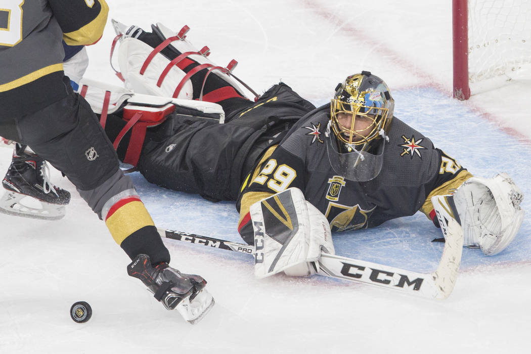Golden Knights goaltender Marc-Andre Fleury (29) makes a diving save in the third period during game three of Las Vegas' NHL Western Conference Finals matchup with Winnipeg on Wednesday, May 16, 2 ...