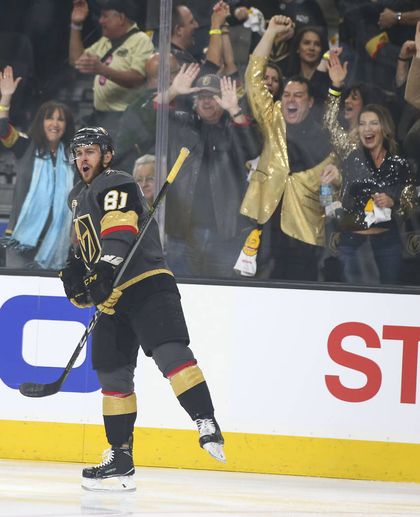 Golden Knights center Jonathan Marchessault (81) celebrates his goal against the Winnipeg Jets during the first period of Game 3 of the NHL Western Conference finals hockey playoff series at T-Mob ...