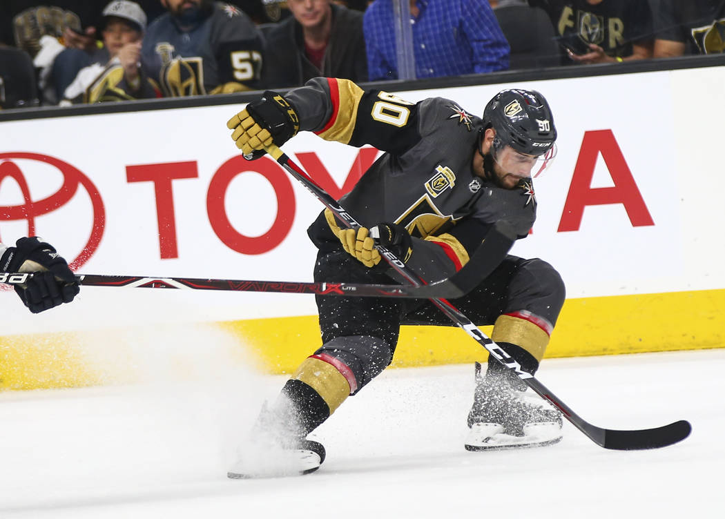 Golden Knights left wing Tomas Tatar (90) skates with the puck against the Winnipeg Jets during the first period of Game 3 of the NHL Western Conference finals hockey playoff series at T-Mobile Ar ...