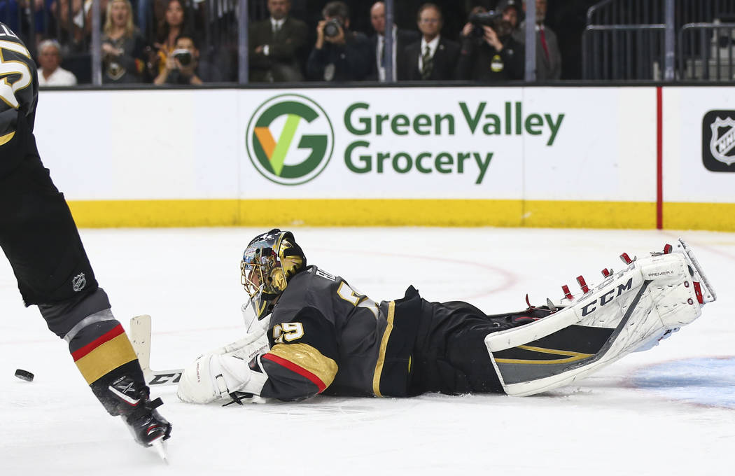 Golden Knights goaltender Marc-Andre Fleury (29) dives for an attempted save against the Winnipeg Jets during the second period of Game 3 of the NHL Western Conference finals hockey playoff series ...