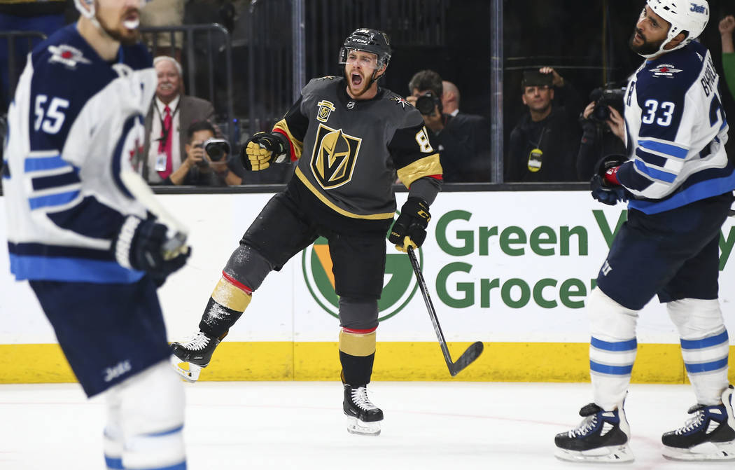 Golden Knights center Jonathan Marchessault (81) celebrates his empty net goal against the Winnipeg Jets during the third period of Game 3 of the NHL Western Conference finals hockey playoff serie ...