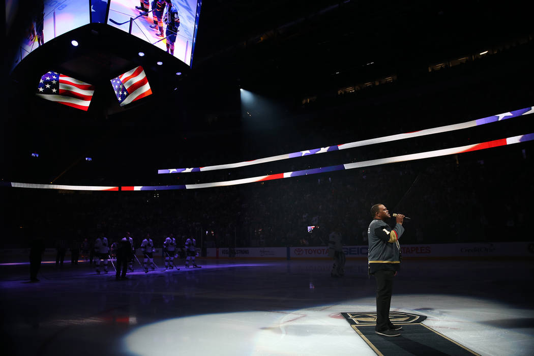 Carnell Johnson, also known as Golden Pipes, sings the national anthem during Game 1 of an NHL hockey second-round playoff series between Vegas Golden Knights and the San Jose Sharks at T-Mobile A ...