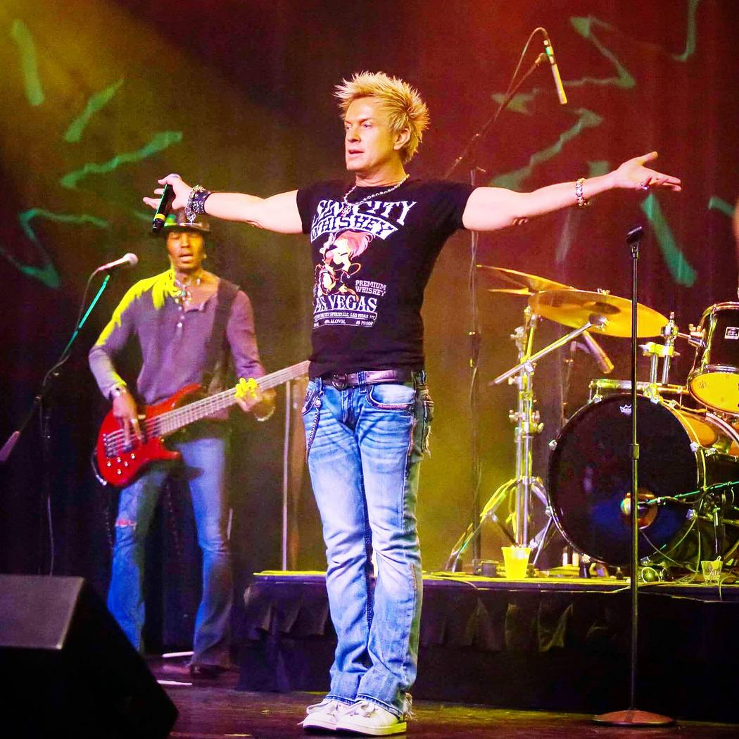 Chris Phillips of Zowie Bowie with band performing in Las Vegas. Courtesy of Chris Phillips