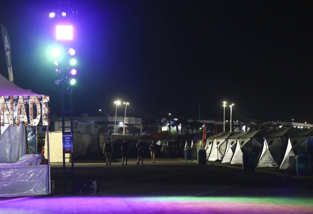 Tents at the campground area during the first day of the Electric Daisy Carnival at the Las Vegas Motor Speedway in Las Vegas on Friday, May 18, 2018. Chase Stevens Las Vegas Review-Journal @csste ...