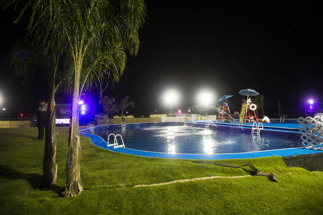 A pool area at the campground area during the first day of the Electric Daisy Carnival at the Las Vegas Motor Speedway in Las Vegas on Friday, May 18, 2018. Chase Stevens Las Vegas Review-Journal ...