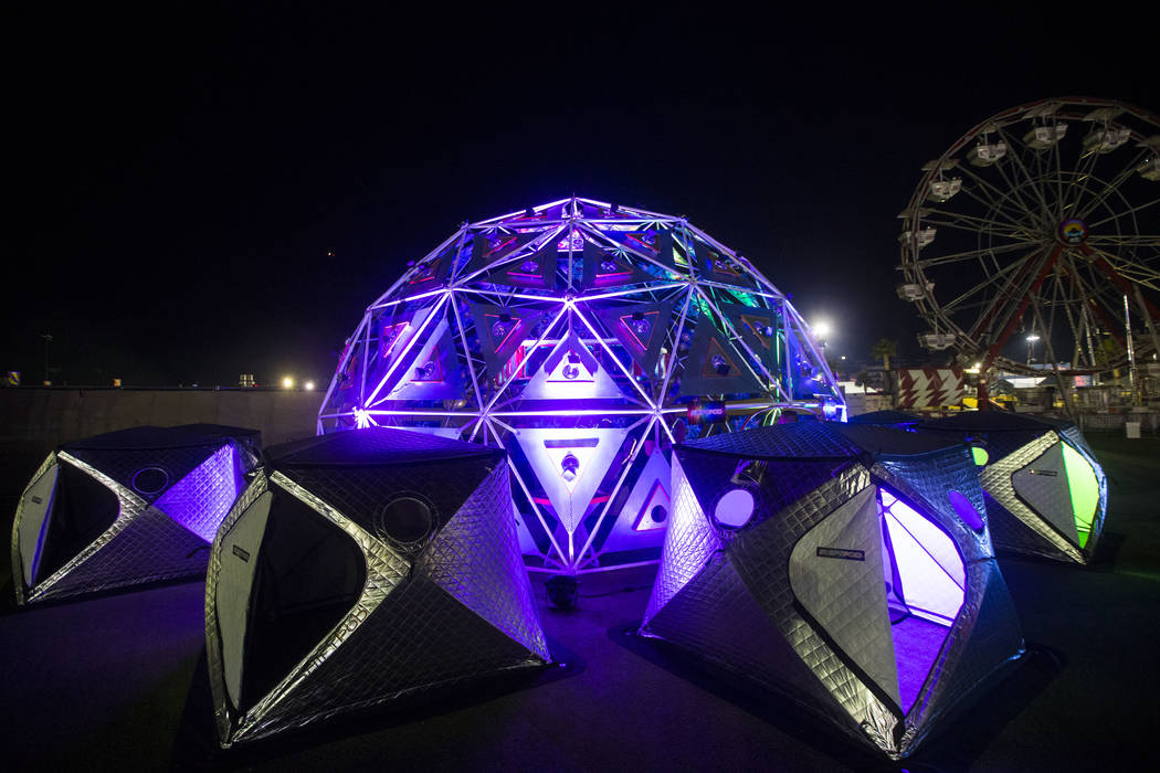 "A relxation area featuring ""shiftpods"" at the campground area during the first day of the Electric Daisy Carnival at the Las Vegas Motor Speedway in Las Vegas on Friday, May 18, 2018. Ch ..."