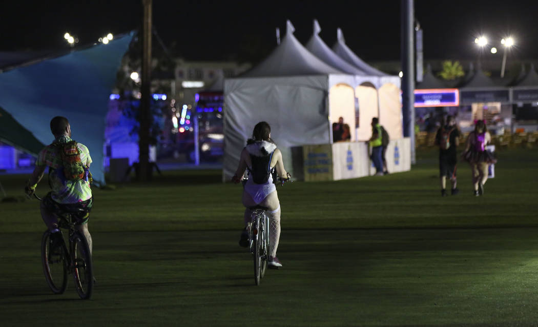 Attendees roam the campground area during the first day of the Electric Daisy Carnival at the Las Vegas Motor Speedway in Las Vegas on Friday, May 18, 2018. Chase Stevens Las Vegas Review-Journal ...