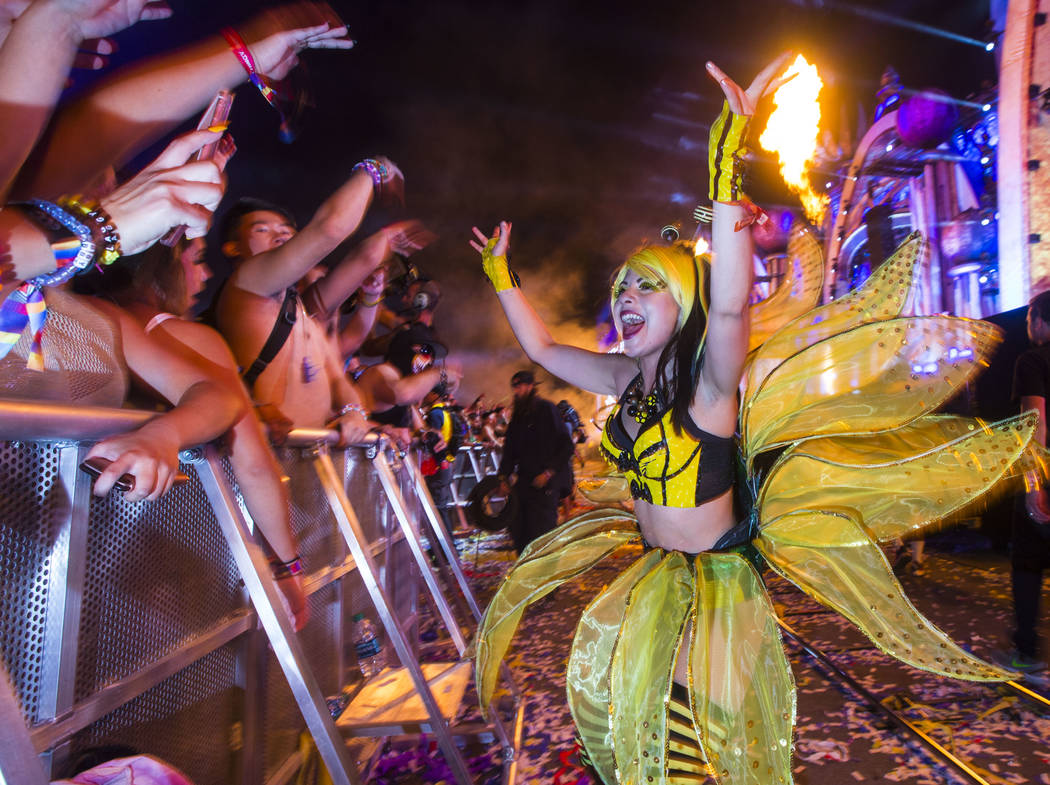 "A member of the ""bumblebee honeys"" entertains attendees at Kinetic Field during the first day of the Electric Daisy Carnival at the Las Vegas Motor Speedway in Las Vegas during the early ..."