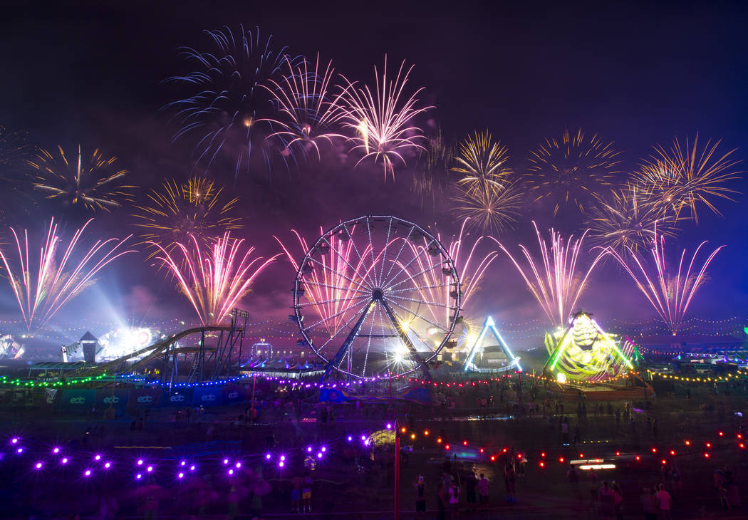 Fireworks go off on day one of the Electric Daisy Carnival at the Las Vegas Motor Speedway on Saturday, May 19, 2018. Richard Brian Las Vegas Review-Journal @vegasphotograph