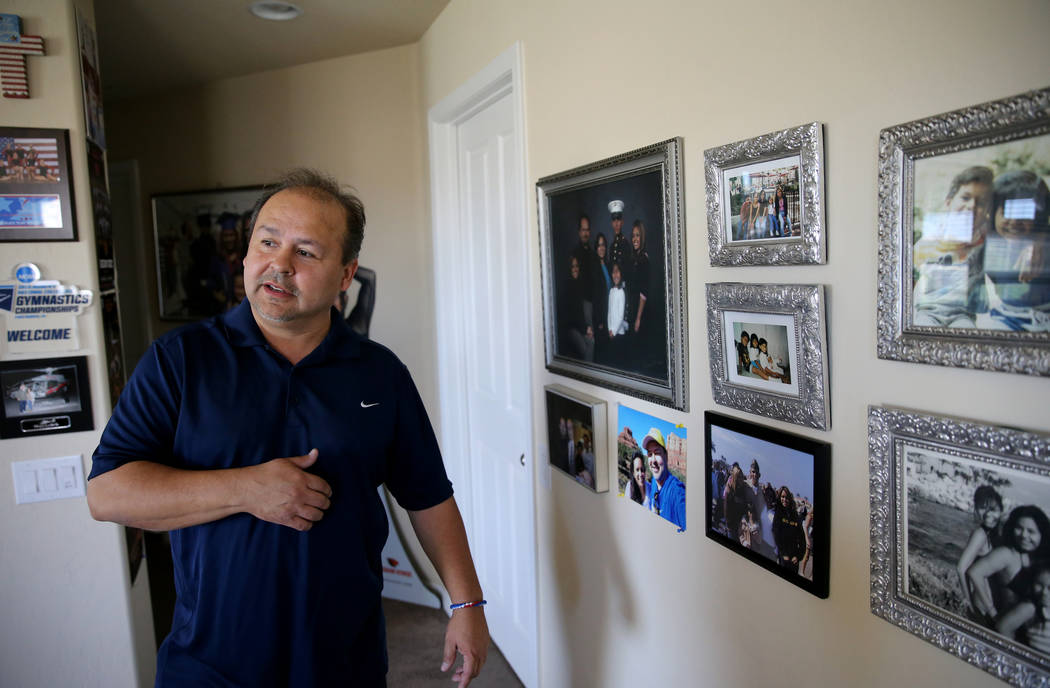 Richard Perez Sr. talks about his son at his Henderson home on May 17, 2018. Richard Perez Jr. died while serving as a Marine in Iraq in 2005. His father will throw out the first pitch at the Las ...