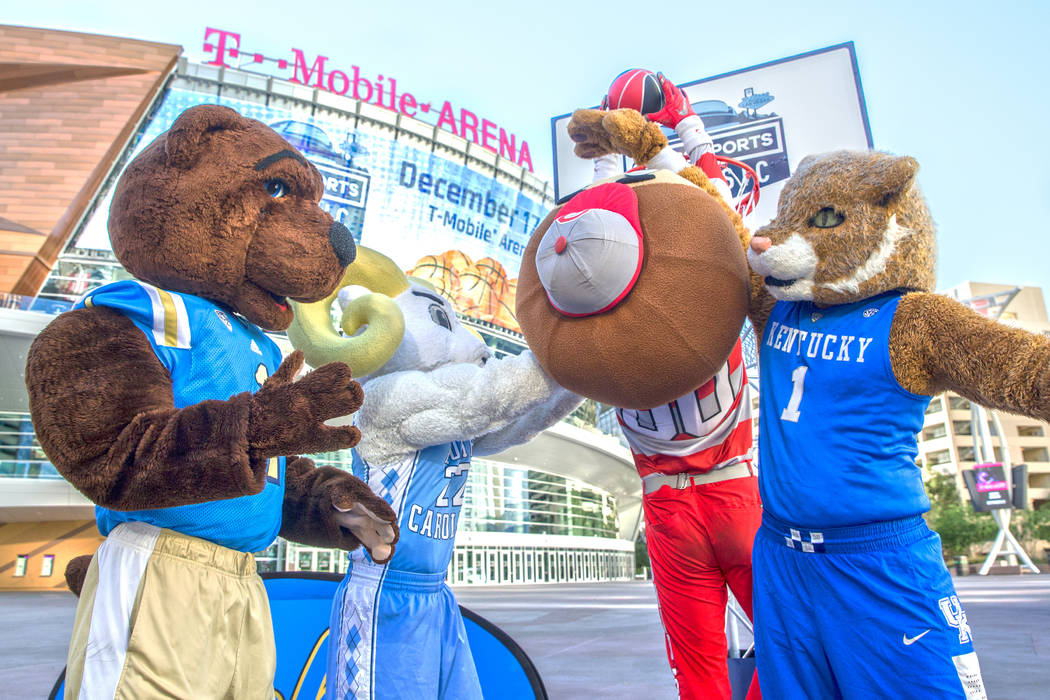 Joe Bruin, left, Rameses, Brutus and the Kentucky Wildcat play basketball on Tuesday, Oct. 11, 2016, outside T-Mobile Arena, in Las Vegas.The four iconic mascots from Kentucky, North Carolina, Ohi ...