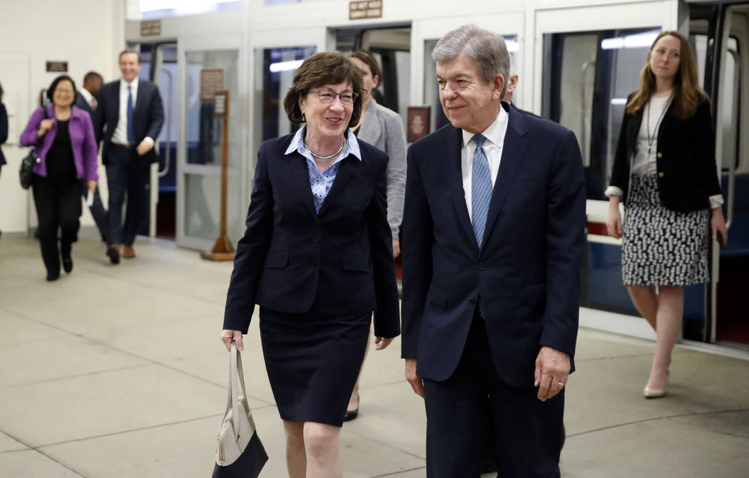 Sen. Susan Collins, R-Maine, left, and Sen. Roy Blunt, R-Mo., arrive for a vote on Gina Haspel to be CIA director, on Capitol Hill, Thursday, May 17, 2018 in Washington. (AP Photo/Alex Brandon)