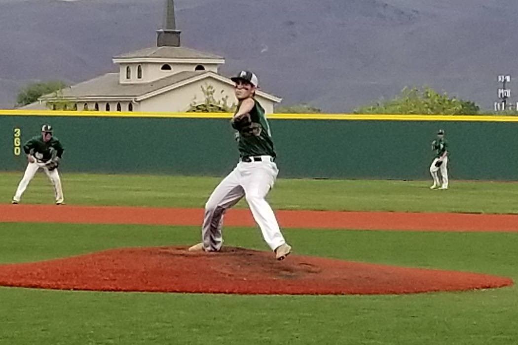 Palo Verde's Nick Zuppas throws a pitch against Bishop Manogue in the Class 4A state baseball tournament on Thursday, May 17, 2018 at Bishop Manogue in Reno. Palo Verde defeated Manogue, 1-0. (Dam ...
